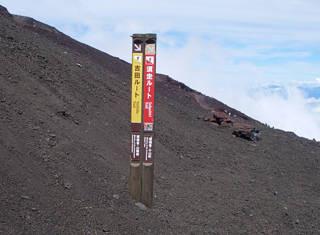 吉田ルート・下山分岐標識