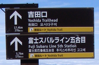 吉田ルートの標識